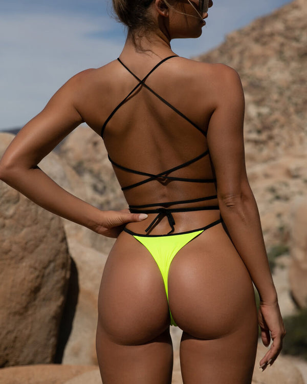 Louisa High Cut Bandage Thong Bikini - Neon Green | Flirtyfull.com