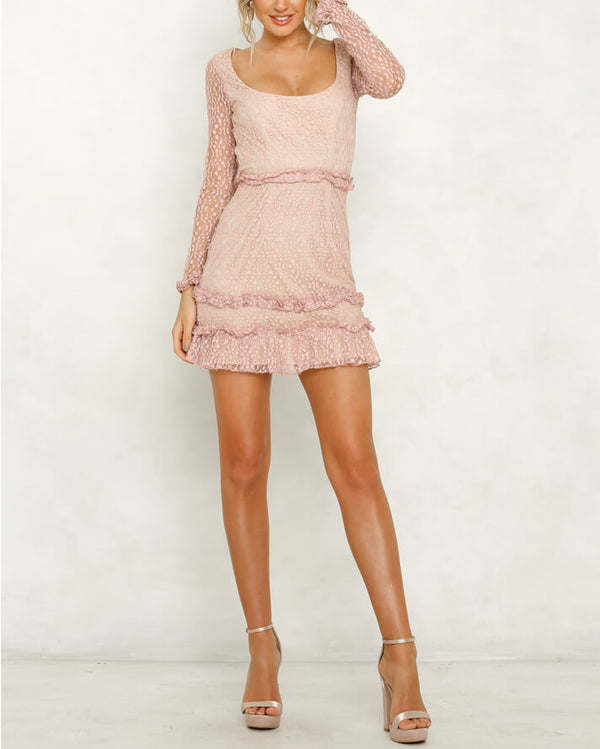 Lucinda Mini Ruffles Backless Dress - Pink | Flirtyfull.com