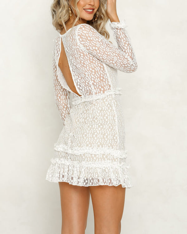 Lucinda Mini Ruffles Backless Dress - White | Flirtyfull.com