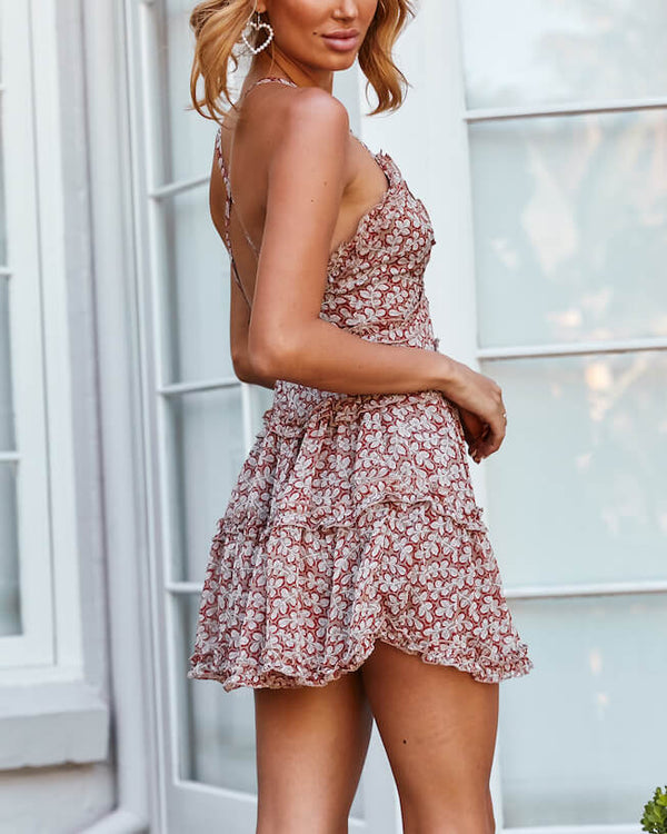 Malibu Mini Ruffle Dress - Tan | Flirtyfull.com