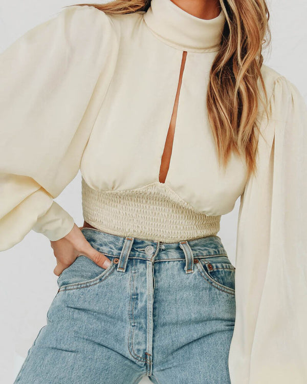 Marionette Hollow Out Shirred Crop Top - Nude | Flirtyfull.com