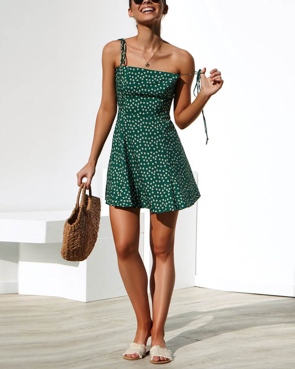 Mila Polka Dot Spaghetti Strap Dress - Green | Flirtyfull.com