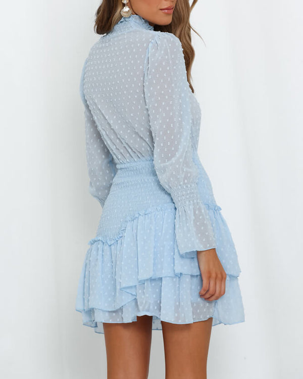 Never Enough Turtleneck Ruched Waist Dress - Light Blue | Flirtyfull.com