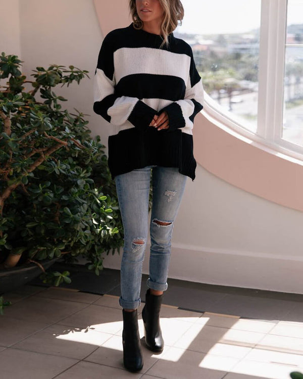 Noelle Knitted Striped Sweater - Black/White | Flirtyfull.com