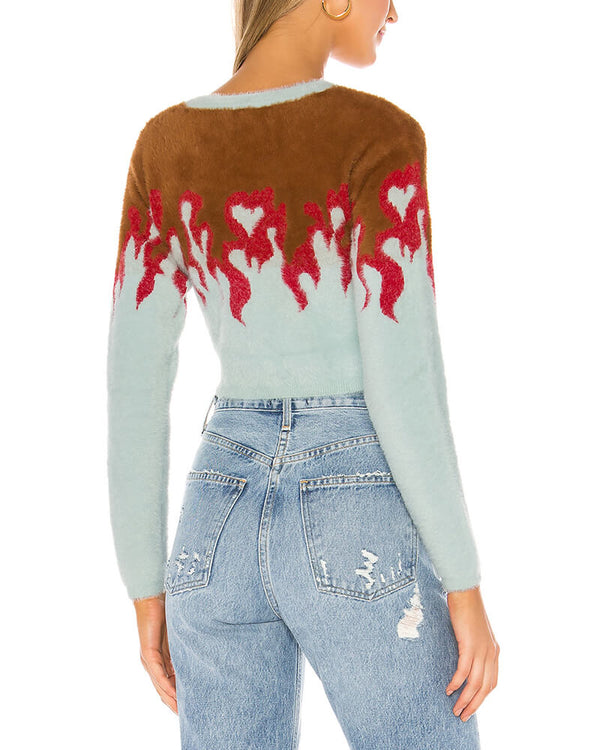 On Flame Faux Mohair Sweater | Flirtyfull.com