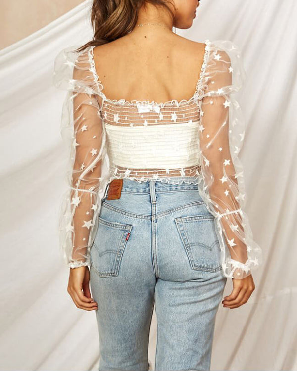 Pamela Puff See Through Mesh Top - White | Flirtyfull.com