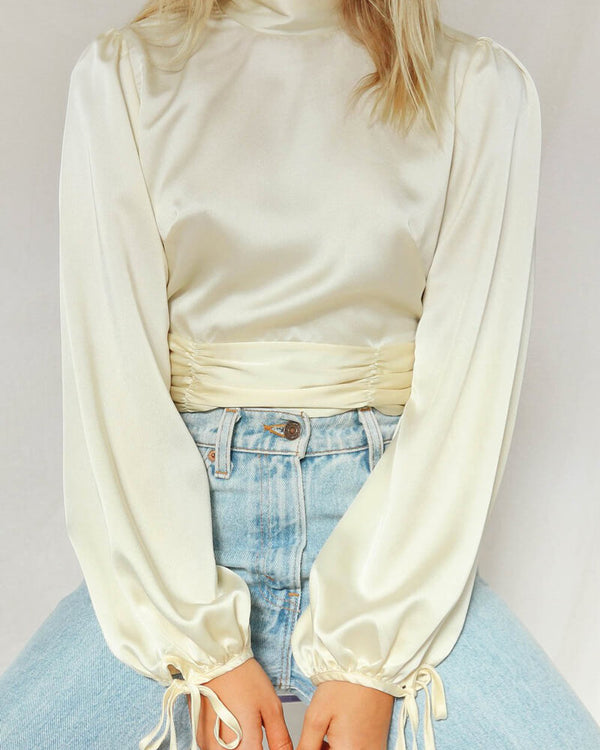 People Need Love Backless Satin Top - Beige | Flirtyfull.com