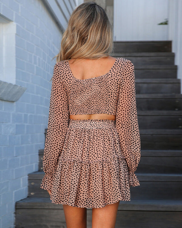 Pia Leopard Two Piece Co-Ord - Nude | Flirtyfull.com