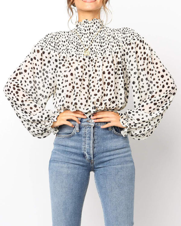 Pollie Turtleneck Loose Lantern Blouse - White | Flirtyfull.com