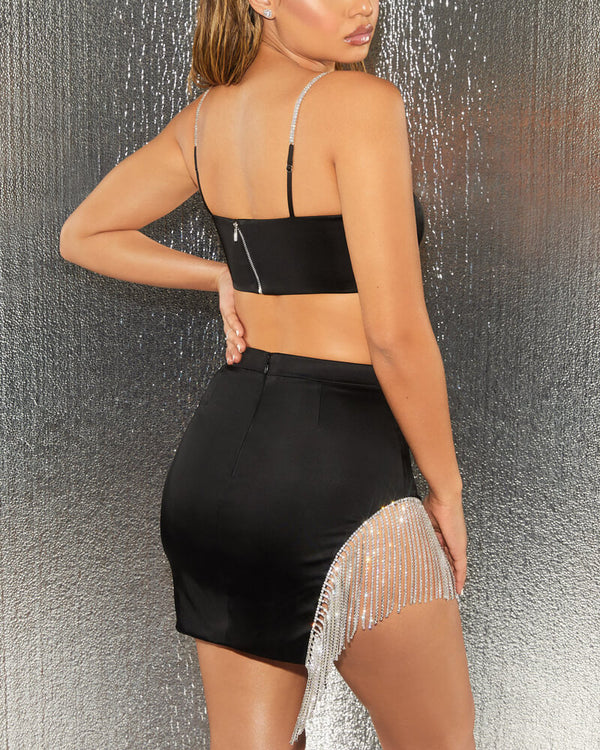 Rihanna Diamonds Spliced SplitTwo Piece Set - Black | Flirtyfull.com
