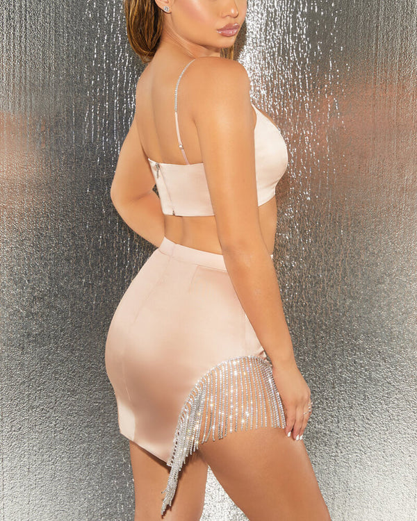 Rihanna Diamonds Spliced SplitTwo Piece Set - Pink | Flirtyfull.com