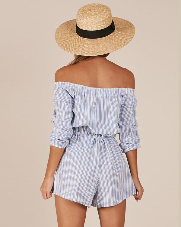 Roma Striped Off the Shoulder Romper - Blue | Flirtyfull.com
