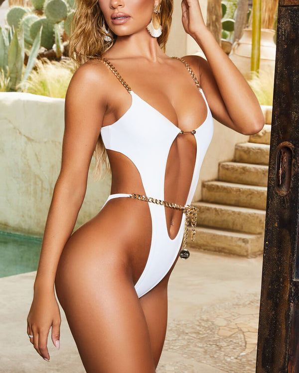 Roxanne High Cut One Piece - White | Flirtyfull.com