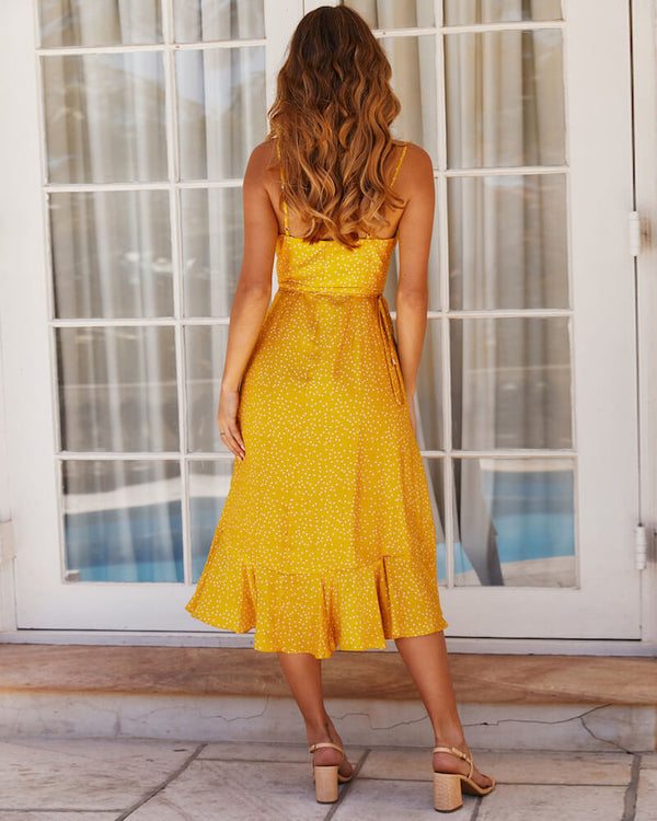 Samira Asymmetrical Polka Dot Dress - Yellow | Flirtyfull.com