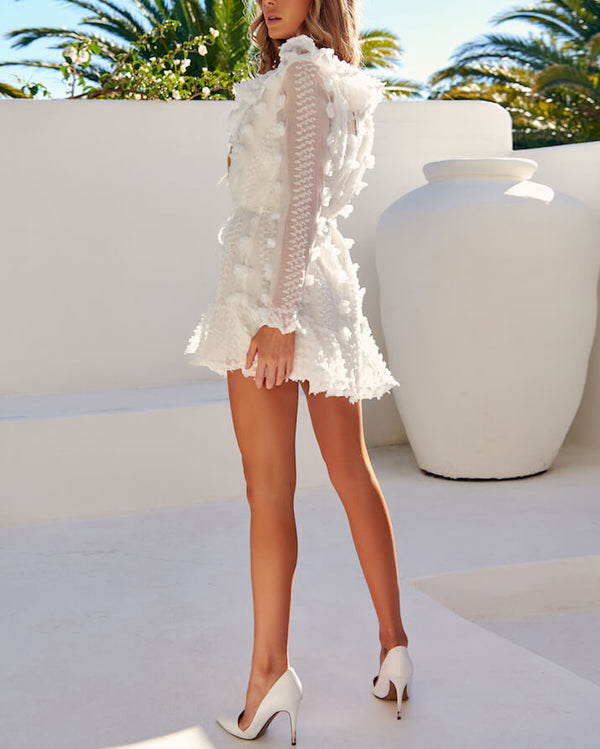 Shape of My Heart Elegant Long Sleeve Dress - White | Flirtyfull.com