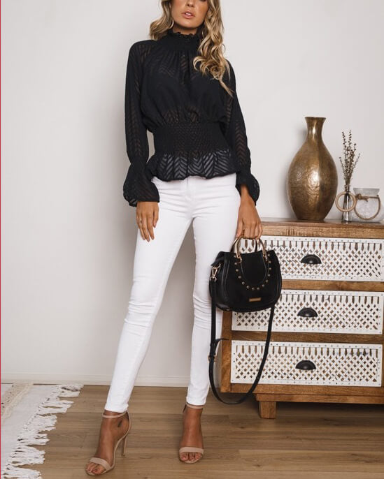 Know You Better Stand Neck Blouse - Black | Flirtyfull.com