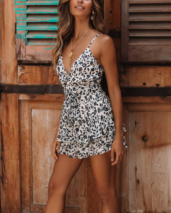 Sucker Punch Floral Playsuit - White | Flirtyfull.com