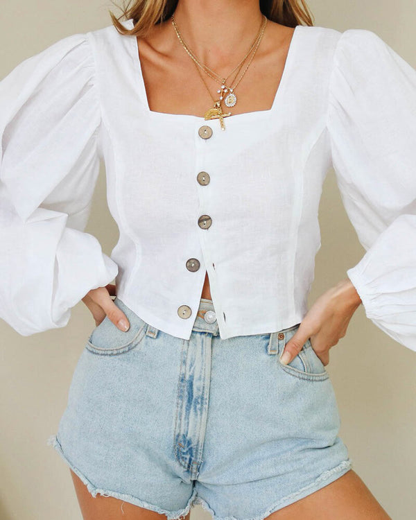 Super Trouper Oversized Lantern Sleeve Top - White | Flirtyfull.com