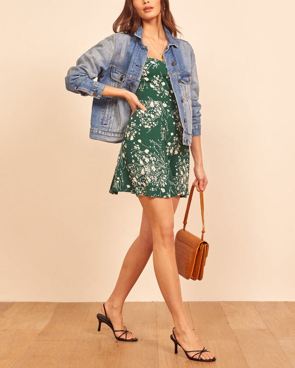 Superstar Square Neckline Floral Summer Dress - Green | Flirtyfull.com