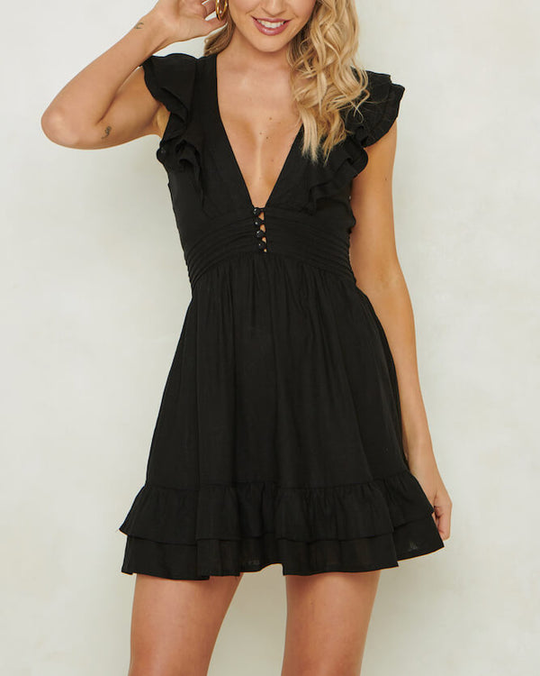 Sweet Disposition Ruffle Linen Dress - Black | Flirtyfull.com