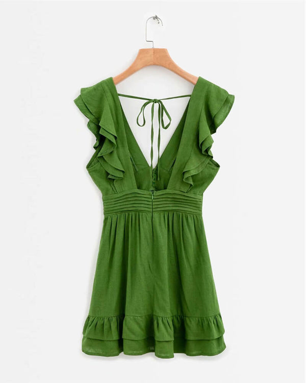Sweet Disposition Ruffle Linen Dress - Green | Flirtyfull.com