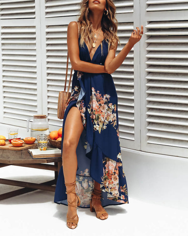 Thompson Boho Beach Floral Dress - Navy | Flirtyfull.com