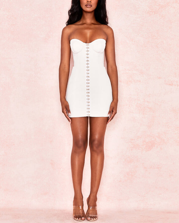 Tilda Breasted Bodycon Sexy Dress - White | Flirtyfull.com