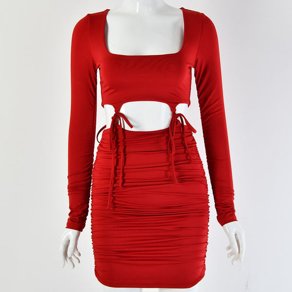 Veronique Hollow Out Bodycon Party Dress - Dark Red | Flirtyfull.com