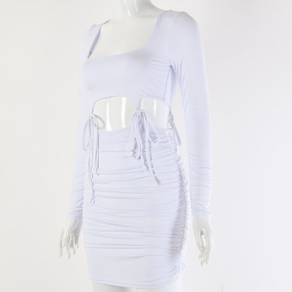 Veronique Hollow Out Bodycon Party Dress - White | Flirtyfull.com