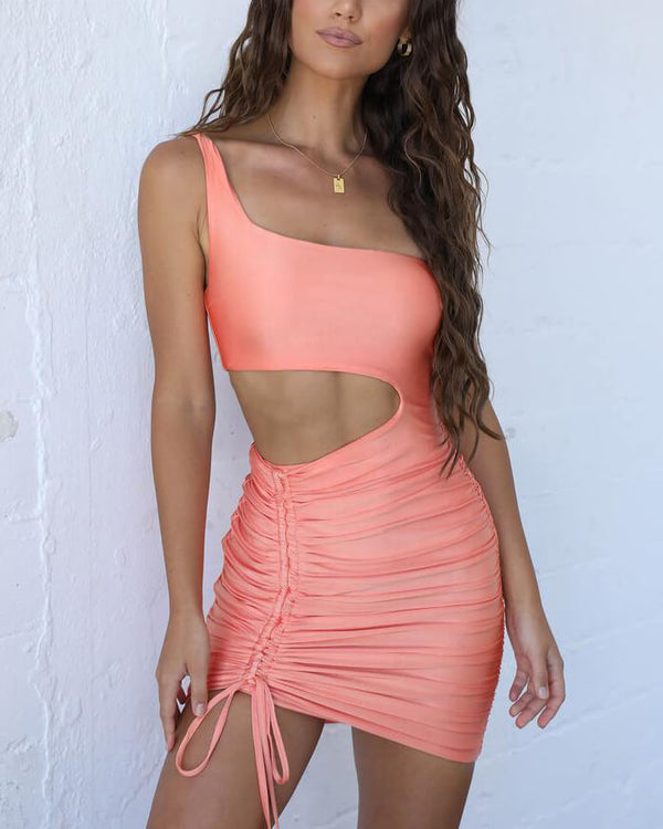 Vignetta Asymmetrical Bodycon Mini Dress - Orange | Flirtyfull.com