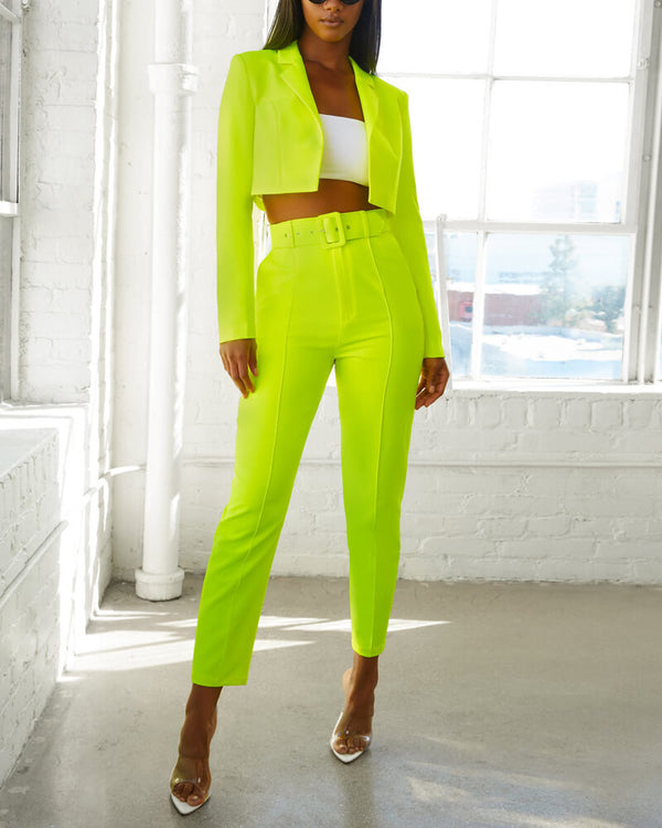 Yves Formal Suit Two Piece - Neon Green | Flirtyfull.com