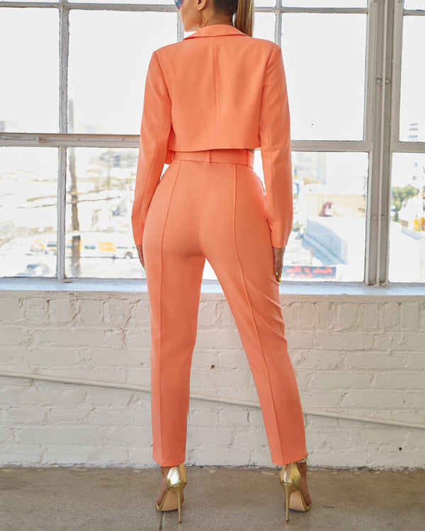 Yves Formal Suit Two Piece - Pastel Orange | Flirtyfull.com