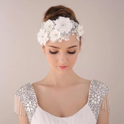Beautiful Lace Appliqué Crystal & Pearl Flower Wedding headpiece - La Bella Bridal Accessories