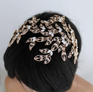 rose gold bridal headpiece,crystal bridal headband,crystal wedding headband,bridal headband,crystal hairband,bridal hair band,bridal crystal headband,Couture Crystal headpiece,Wedding Headpiece,Bridal headpieces