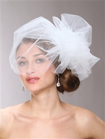 Bouffant Style Side pouf birdcage Veil - La Bella Bridal Accessories