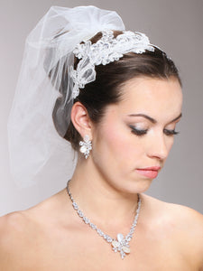 Vintage White Lace Headband with Pearls Sequins - La Bella Bridal Accessories