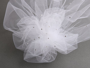 Birdcage Visor Veil with Side Pouf - La Bella Bridal Accessories