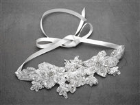 Crystal & Lace Applique Bridal Headband - La Bella Bridal Accessories
