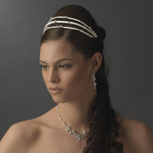 Charming 3 Row White Flower Crystal Bridal Headband - La Bella Bridal Accessories