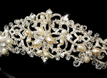 Swarovski Crystal Freshwater Pearl Wedding Tiara - La Bella Bridal Accessories