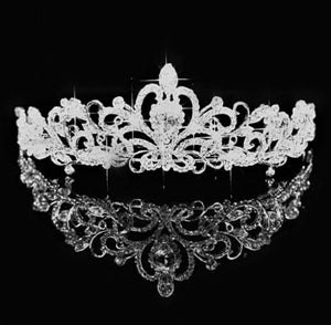 Silver Plated Floral Crystal Swirl Bridal Tiara - La Bella Bridal Accessories