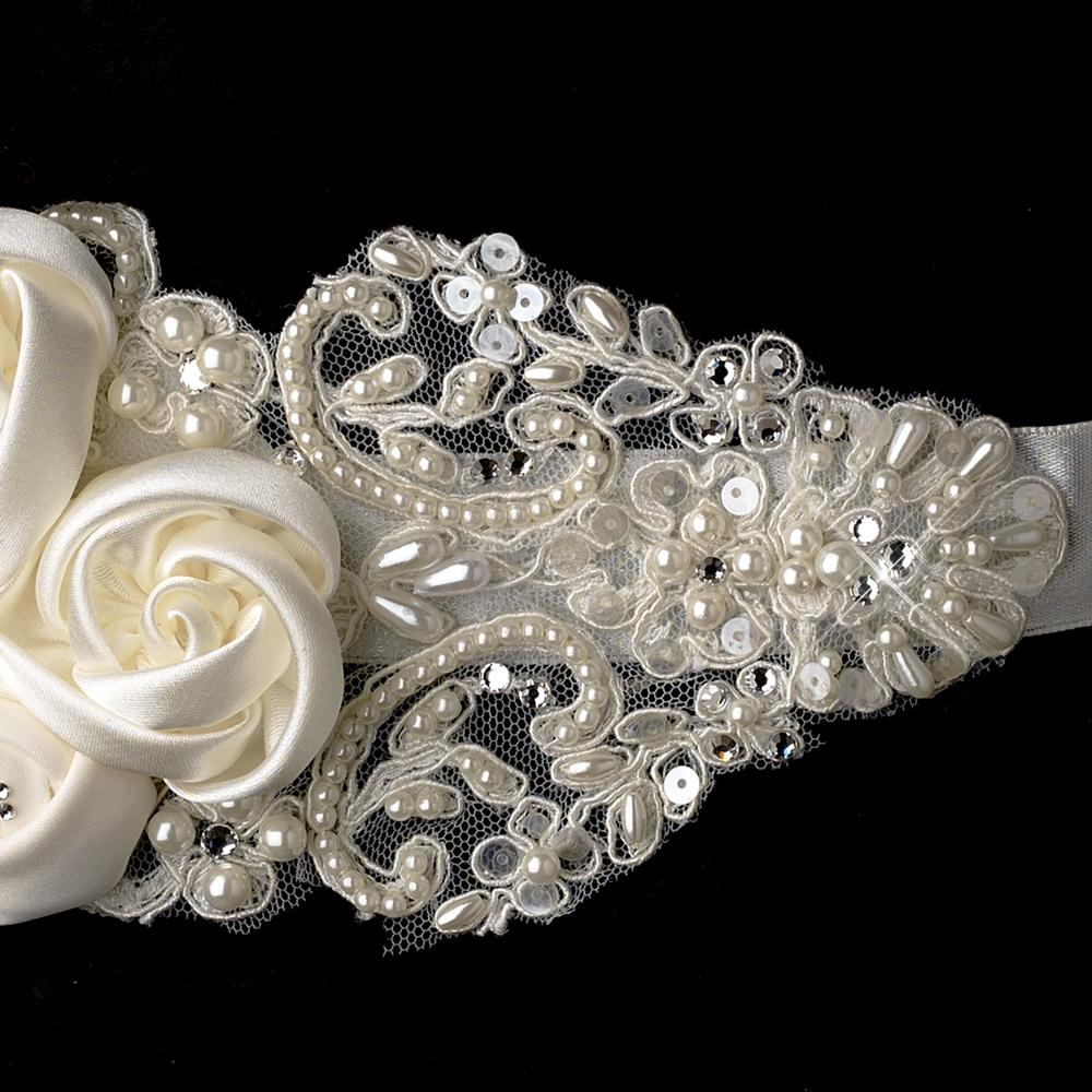 Satin Flowers & Crystals on Lace Bridal Belt - La Bella Bridal Accessories