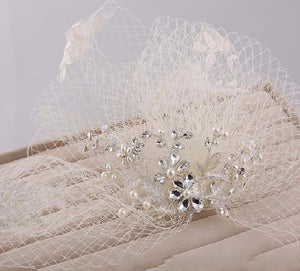 Vintage Couture Russian Net, Pearls & Lace Wedding Veil