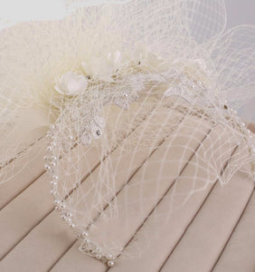 Stunning Modern French Net, Pearl Crystal & Lace Wedding Veil