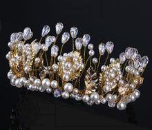 Baroque Style Pearl & Crystal Wedding Tiara - La Bella Bridal Accessories