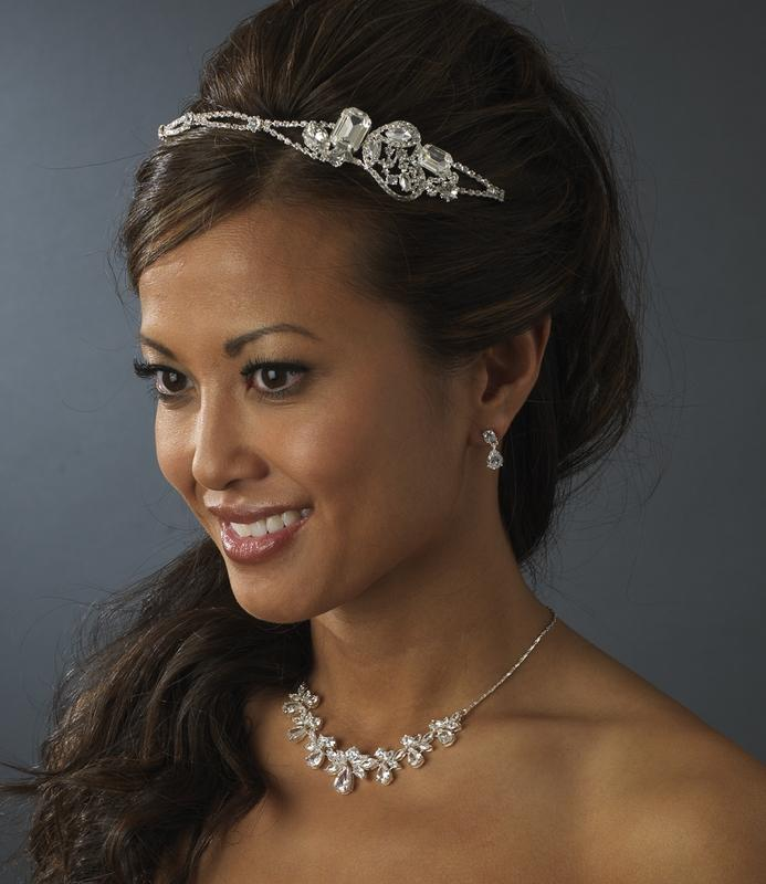 Beautiful Silver Bling & Crystal Bridal Headband - La Bella Bridal Accessories