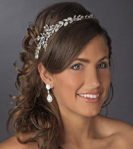 Gorgeous Antique Silver Marquise Cut Crystal Headpiece - La Bella Bridal Accessories
