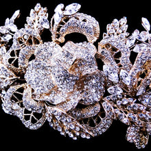 14k Plated Floral Rose Crystal Headband, wedding headband, bridal headpieces, wedding headpiece, crystal headband