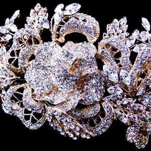 Stunning 14k Plated Floral Rose Crystal Headband (gold or silver) - La Bella Bridal Accessories