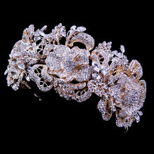 Stunning 14k Plated Floral Rose Crystal Headband, bridal headpieces, wedding headpiece